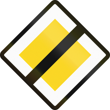 end of the road: Road sign used in Denmark - End of priority road.