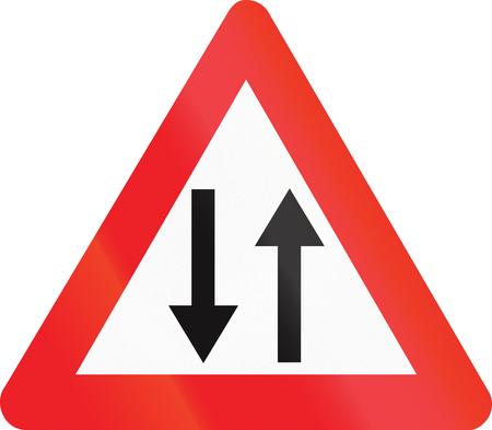opposing: Belgian warning road sign - oncoming traffic.