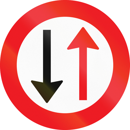 give the way: Road sign used in Denmark - Give way to oncoming traffic.