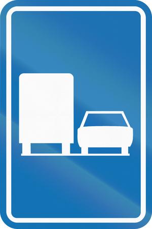 overtake: Belgian regulatory road sign - Trucks are allowed to overtake. Stock Photo