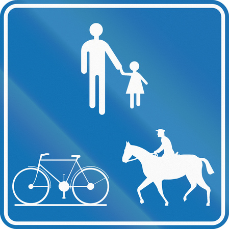 pedestrian walkway: Road sign used in Belgium - Path for pedestrians, cyclists and equestrians.