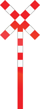 single track: Belgian warning road sign - Level crossing with single track. Stock Photo