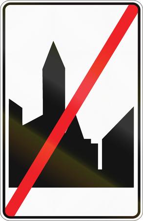 end of the road: Belgian regulatory road sign - End of Built-up area.