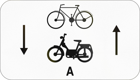 mopeds: Additional road sign used in Belgium - Bicycles and mopeds class A in both directions.