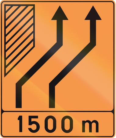 deviation: Temporary road sign used in Belgium - Lane configuration.