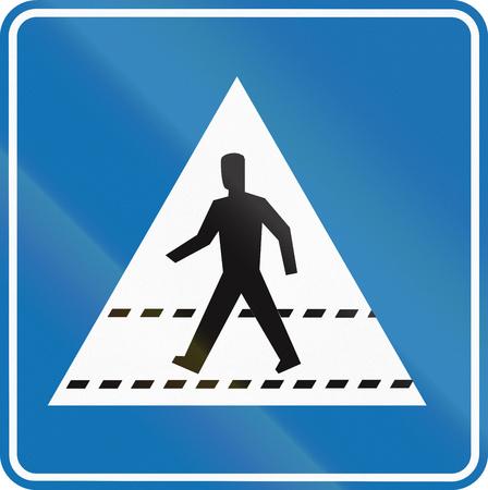 quadratic: Belgian informational road sign - Pedestrian crossing. Stock Photo