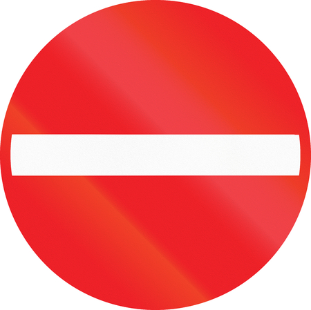 no entry: Belgian regulatory road sign - No entry for vehicular traffic.