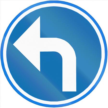 turn left sign: Belgian regulatory road sign - Turn left ahead.
