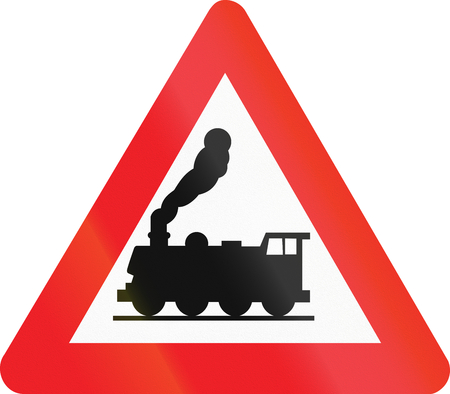 fume: Belgian warning road sign - Level crossing without barrier or gates ahead.