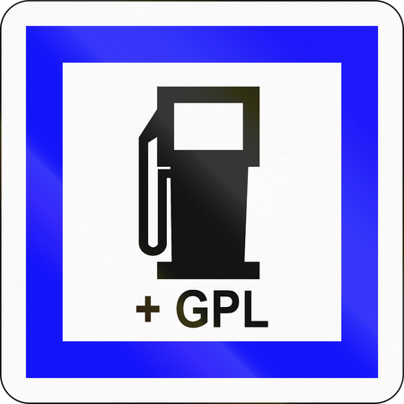 petrol station: Road sign used in France - Petrol station with LPG.