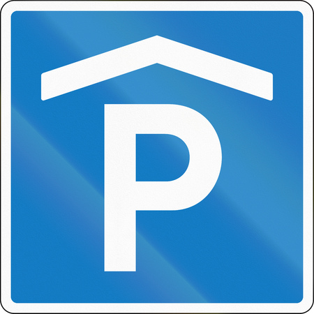 quadratic: Road sign used in Denmark - Covered parking place.
