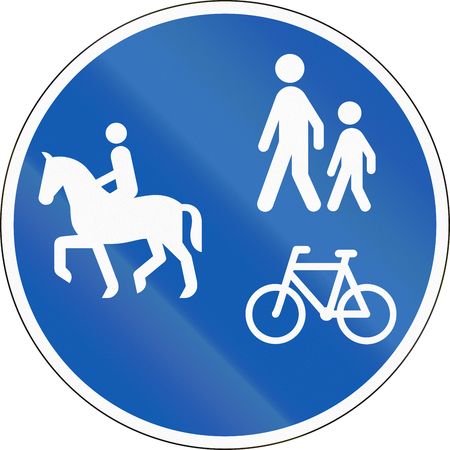 Road sign used in Denmark - Shared lane for equestrians, pedestrians and cyclists.