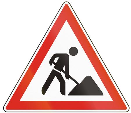 roadworks: Hungarian warning road sign - road works.