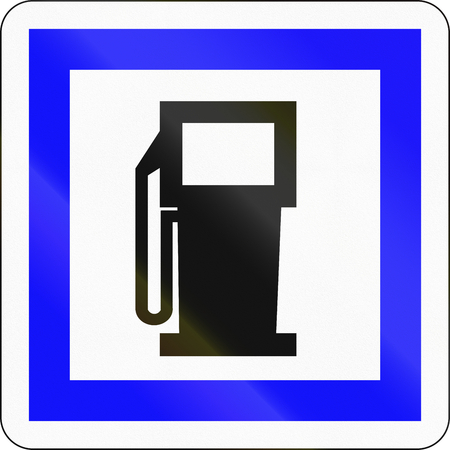 petrol station: Road sign used in France - Petrol station.