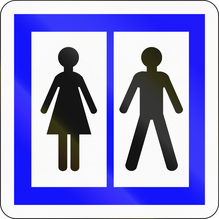 dividing line: Informational road sign used in France - Toilets. Stock Photo
