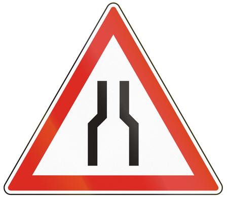 Hungarian warning road sign - Road narrows on both sides.