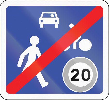 residential zone: Road sign used in France - End of home zone.