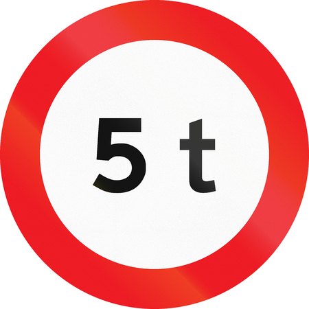 Road sign used in Denmark - Maximum weight.