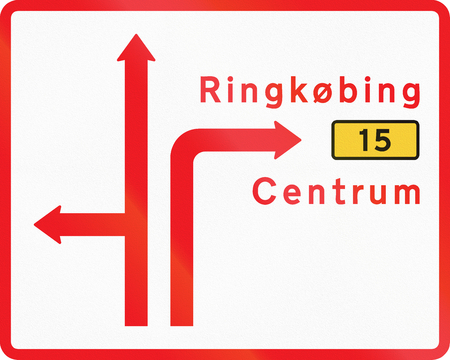 Diagrammatic direction road sign used in Denmark. Stock Photo