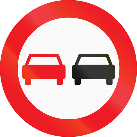 Road sign used in Denmark - No overtaking.