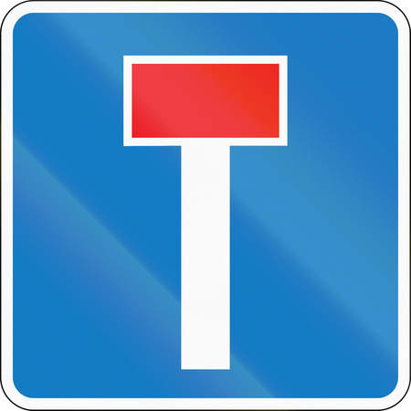 Road sign used in Denmark - No through road.