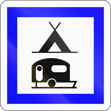 camping site: Road sign used in France - Camping and caravan site.
