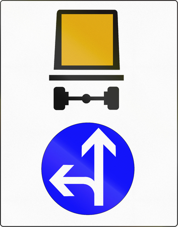 must: French regulatory road sign - Vehicles carrying dangerous goods must continue straight ahead or left.