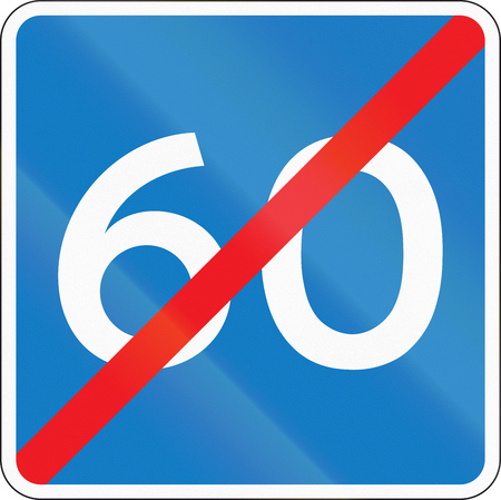 end of the road: Danish information road sign - End of advisory speed limit.