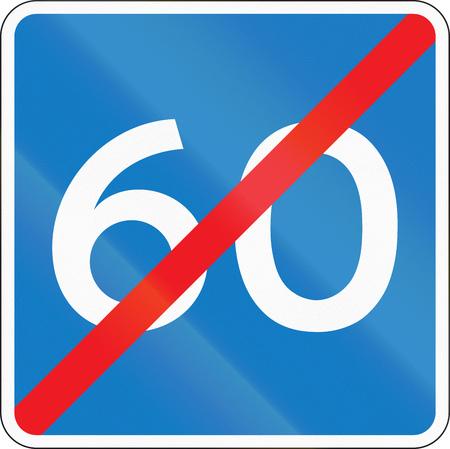 quadratic: Danish information road sign - End of advisory speed limit.