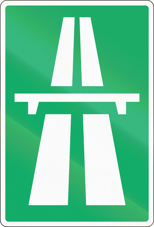 motorway: Road sign used in Denmark - Motorway. Stock Photo