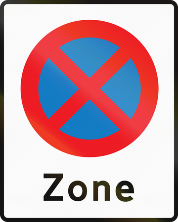 stopping: Road sign used in Denmark - No stopping zone. Stock Photo