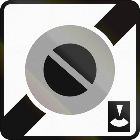 end of the road: Road sign used in France - End of no parking zone with parking disc. Stock Photo