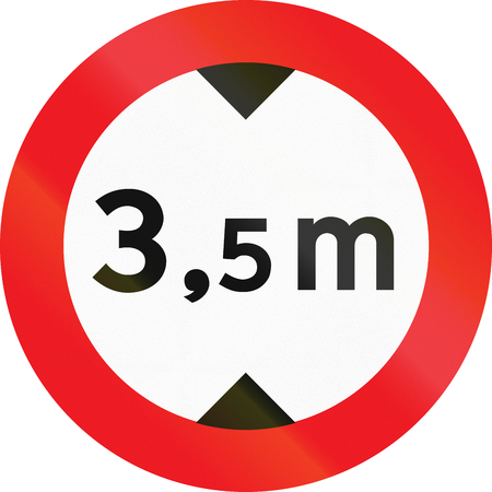 Road sign used in Denmark - No vehicles having an overall height exceeding 3.5 meters. Stock fotó