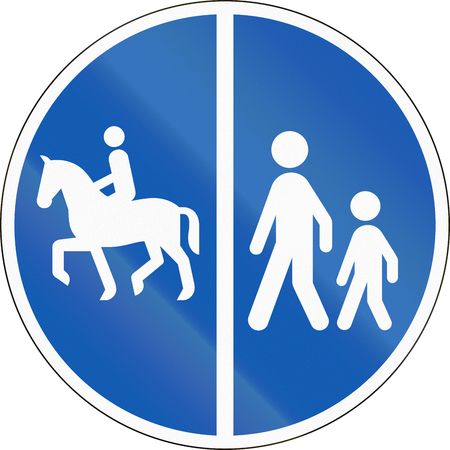 Road sign used in Denmark - Separate lanes for pedestrians and equestrians.