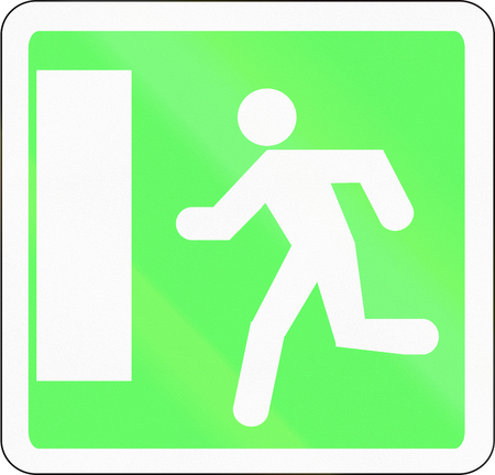 emergency exit: French informational road sign - Emergency exit sign.