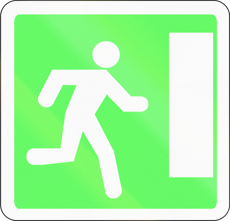 exit sign: French informational road sign - Emergency exit sign.