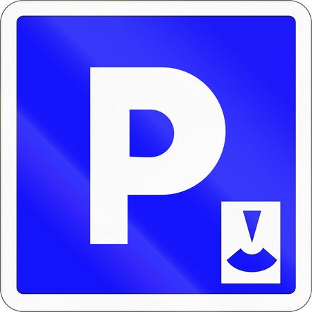 parking disk: Road sign used in France - Parking with parking disc. Stock Photo
