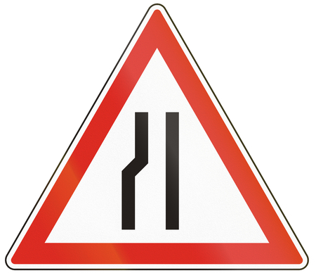 narrows: Hungarian warning road sign - Road narrows on the left side. Stock Photo