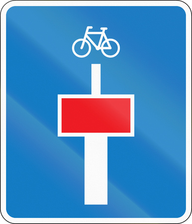Danish road sign - No through road except for cyclists. Stock Photo
