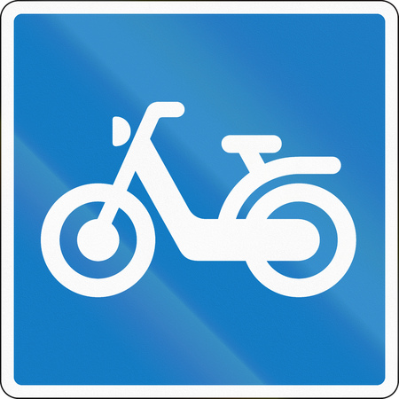 moped: Road sign used in Denmark - moped route.