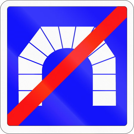 end of the road: Road sign used in France - End of Tunnel. Stock Photo
