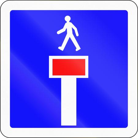 French road sign - No through road except for pedestrians.