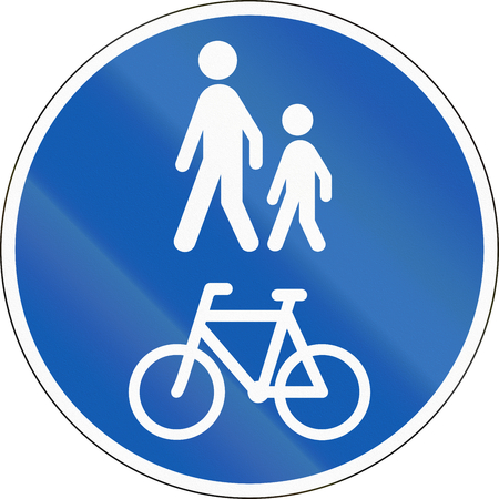 Road sign used in Denmark - Shared lane for pedestrians and cyclists.