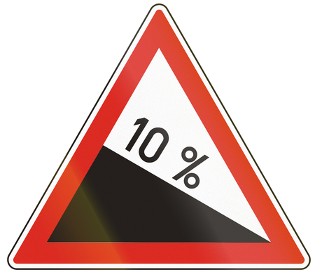 steep: Hungarian warning road sign - Steep hill downward.
