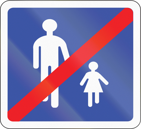 pedestrians: Road sign used in France - End of pedestrians route. Stock Photo