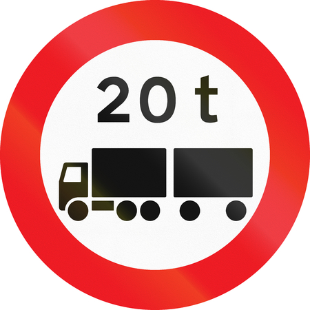 tonnes: Road sign used in Denmark - No vehicles or combination of vehicles exceeding 20 tonnes. Stock Photo