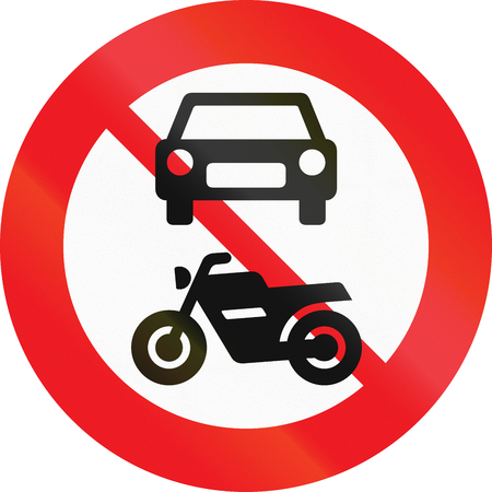 Road sign used in Denmark - No motor-driven vehicles. Stock Photo