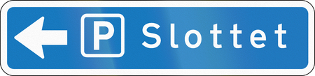 Parking place direction sign used in Denmark. Slottet means castle.