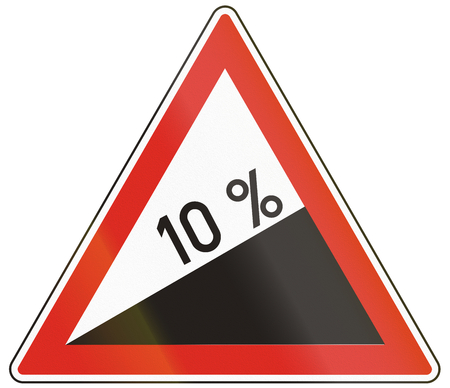 uphill: Hungarian warning road sign - Steep hill upward. Stock Photo