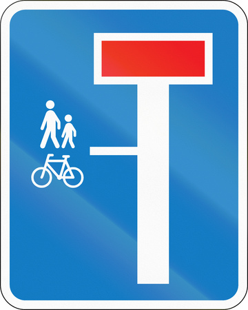 pedestrians: Danish road sign - No through road except for pedestrians and cyclists. Stock Photo